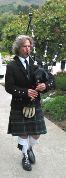 Bagpipe instructor Michel d'Avenas has students all over the Monterey Bay area, California