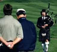 Michel playing bagpipes at Pebble Beach golf resort in the Monterey Bay